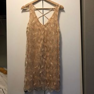 Dresses & Skirts - Nude dress with gold sequin details